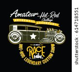 vintage race car for printing... | Shutterstock .eps vector #614718551