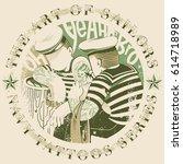 tattooing sailors | Shutterstock .eps vector #614718989