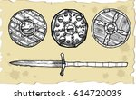 set of medieval shields against ... | Shutterstock .eps vector #614720039