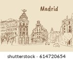 sketch of gran via street in... | Shutterstock .eps vector #614720654