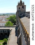 Small photo of EVORA, PORTUGAL - May 9, 2014: The Cathedral of Evora (Se de Evora in Portuguese), a roman catholic church in the Alentejo. A World Heritage Site since 1986 as part of the Historic Centre of Evora.