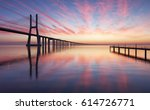vasco da gama bridge in lisbon...   Shutterstock . vector #614726771