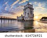 lisbon   belem tower   tagus... | Shutterstock . vector #614726921