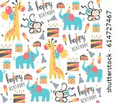 seamless birthday pattern.... | Shutterstock .eps vector #614727467