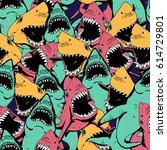 angry shark seamless pattern.... | Shutterstock .eps vector #614729801