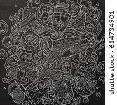 cartoon cute doodles hand drawn ... | Shutterstock .eps vector #614734901