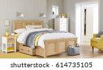 modern bedroom. luxury bedroom... | Shutterstock . vector #614735105