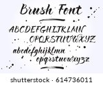 brush lettering vector alphabet.... | Shutterstock .eps vector #614736011