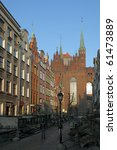 Mary's Street with the Basilica in Gdansk, Poland. - stock photo