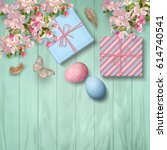 easter wooden background with... | Shutterstock . vector #614740541