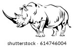 vector image of a rhino | Shutterstock .eps vector #614746004