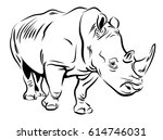 vector image of a rhino | Shutterstock .eps vector #614746031