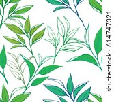 tea leaves seamless pattern.... | Shutterstock .eps vector #614747321