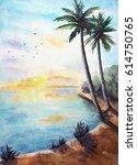 Watercolor Tropical Landscape...