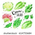 watercolor set of green salad... | Shutterstock . vector #614753684
