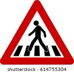 Warning Sign With Crosswalk...