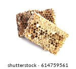 honeycombs isolated on white... | Shutterstock . vector #614759561