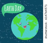 happy earth day. cute planet... | Shutterstock .eps vector #614764571