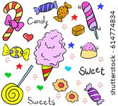 doodle of many candy various | Shutterstock .eps vector #614774834