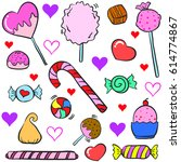 doodle of colorful candy object ... | Shutterstock .eps vector #614774867