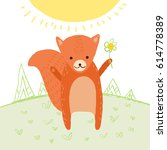 cute fox in the meadow with... | Shutterstock .eps vector #614778389