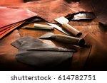 leathersmith's work desk .... | Shutterstock . vector #614782751