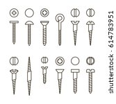 vector screws nails and wall... | Shutterstock .eps vector #614783951