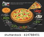 pizza on the board with the... | Shutterstock .eps vector #614788451
