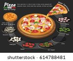 pizza on the board with the... | Shutterstock .eps vector #614788481