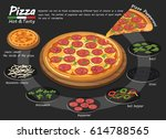 pizza on the board with the... | Shutterstock .eps vector #614788565