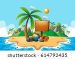 beach tropical island scene | Shutterstock .eps vector #614792435
