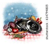 kitchen set. vegetarian set in...   Shutterstock . vector #614794805