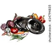 kitchen set. vegetarian set in...   Shutterstock . vector #614794835