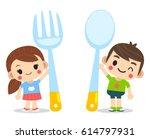 vector cute boy and girl  kids...   Shutterstock .eps vector #614797931