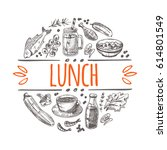 lunch concept. hand drawn... | Shutterstock .eps vector #614801549