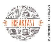 breakfast concept. hand drawn... | Shutterstock .eps vector #614801801