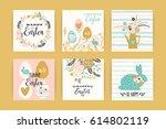 happy easter. vector templates... | Shutterstock .eps vector #614802119