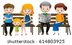 people in family sitting on... | Shutterstock .eps vector #614803925