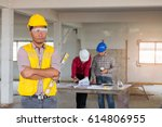 portrait of confident labor... | Shutterstock . vector #614806955