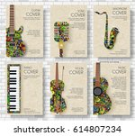 music magazine layout flyer... | Shutterstock .eps vector #614807234