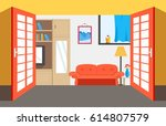 flat cozy room in house with... | Shutterstock .eps vector #614807579