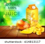 vector pack of mango juice with ... | Shutterstock .eps vector #614813117