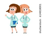 two comic style woman doctor... | Shutterstock .eps vector #614818001