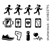 jogging  people running ... | Shutterstock .eps vector #614823791