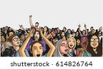 illustration of festival crowd... | Shutterstock .eps vector #614826764