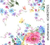 watercolor floral garland.... | Shutterstock . vector #614829521