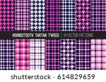 navy blue and pink houndstooth... | Shutterstock .eps vector #614829659