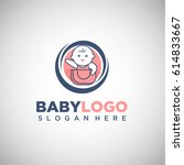 baby logo vector template in... | Shutterstock .eps vector #614833667