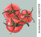 sketch of tomatoes. drawing ink ... | Shutterstock .eps vector #614833709
