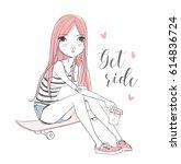 girl sitting on skateboard. | Shutterstock .eps vector #614836724